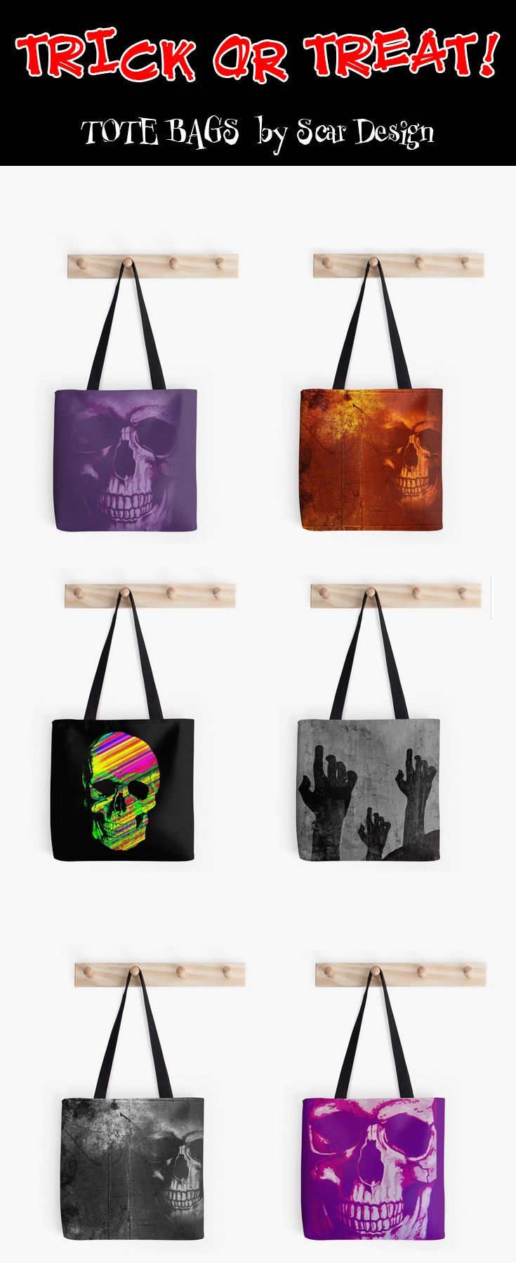 Halloween Tote  Bags by Scar Design. #halloween #trickortreat #skeletons #skulls #halloweengifts $skull #family #art #online #shopping #horror #scary #giftsforkids #skullbag #totebag #totebags #giftsforhim #giftsforher #39 #gifts #kids