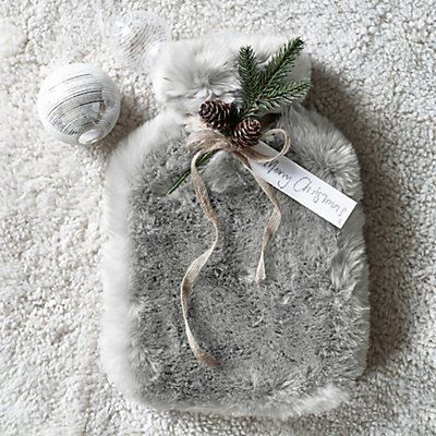 Silver Faux Fur Hot Water Bottle & Cover, The White Company