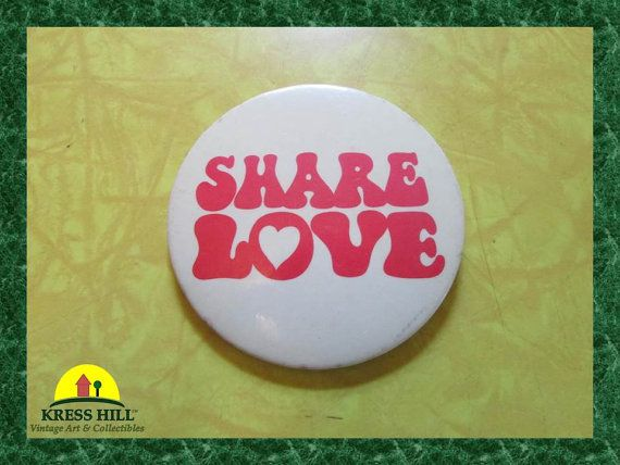 Share Love Pink Vintage Large Pinback Button by KressHillVintage, $10.50