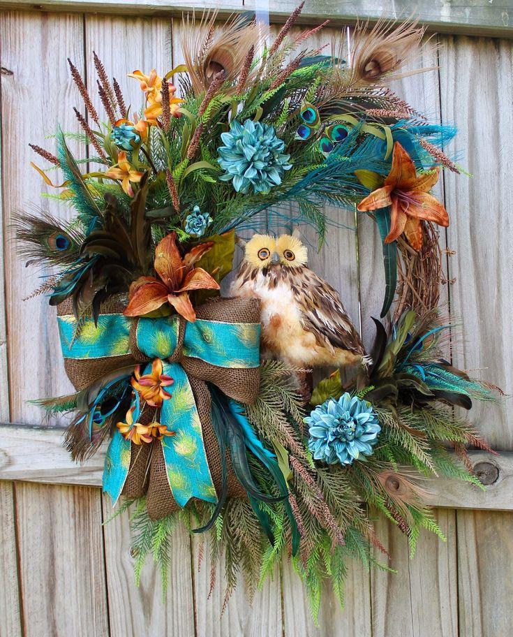 Custom Order Rustic Owl Wreath in Peacock Teal and Brown