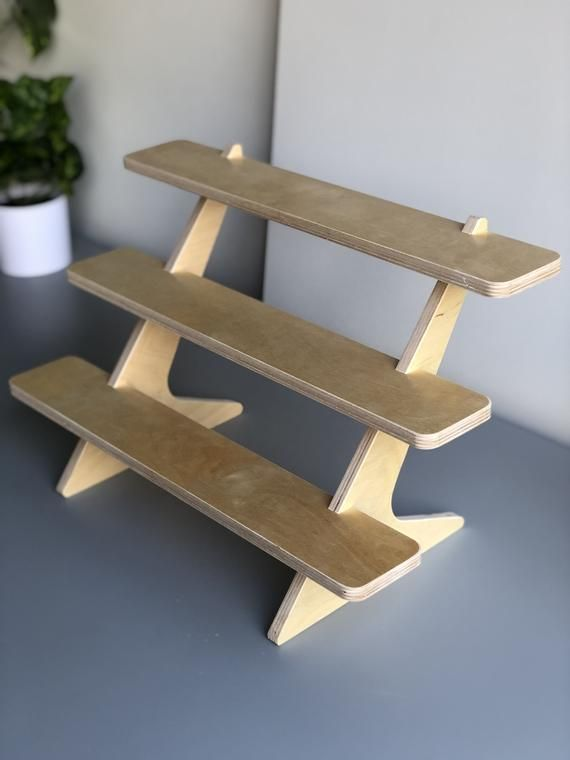 The Plain 3 Tiered Stand Wood Tiered Shelf Cupcake Stand Vendor Craft Fair Plant Stand Makeup Candle Collapsible Market Stall Tiered Stand Makeup Candles Craft Fairs
