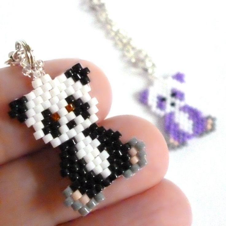 Panda Charm with Chain Bead Woven by HandmadeCute on Etsy