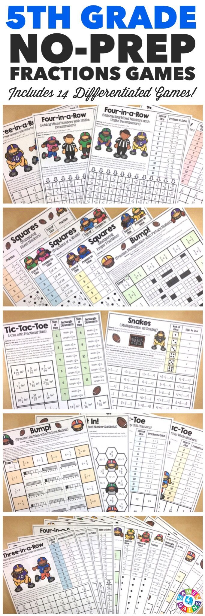 """""""I LOVE that these games include different skill levels for fractions and the kids LOVE them too!"""" This 5th Grade Fractions Games Pack includes 14 differentiated games for practicing adding fractions, subtracting fractions, multiplying fractions, dividing fractions, simplifying fractions, and calculating area with fractions.  These games support all of the 5th grade CCSS fraction standards!"""