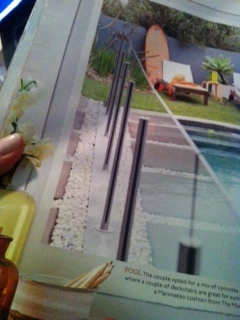 Pebbles, pavers and pool fence