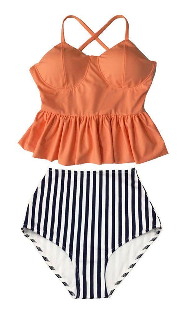 Old Rose Long Peplum Hem Top and Stripes High waisted waist Shorts Bottom Bikini Swimsuit Swimwear Beach Swim wear Bathing suit dress M L by venderstore on Etsy