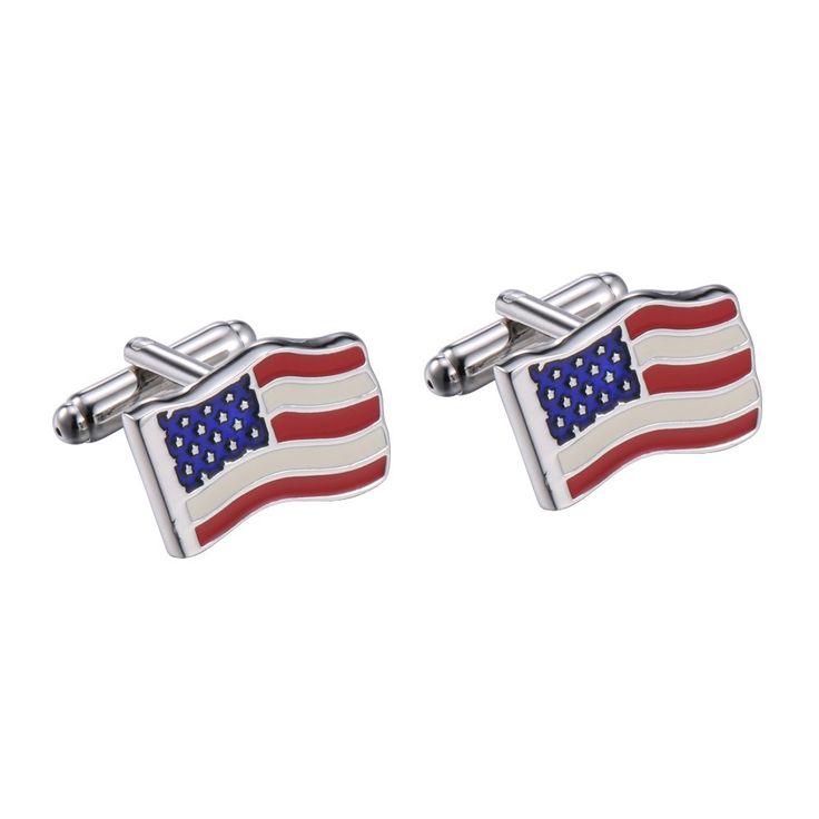 R&B Schmuck Herren Manschettenknöpfe Edelstahl - Flagge USA (Silber, Blau, Rot, Weiß): 17,90€