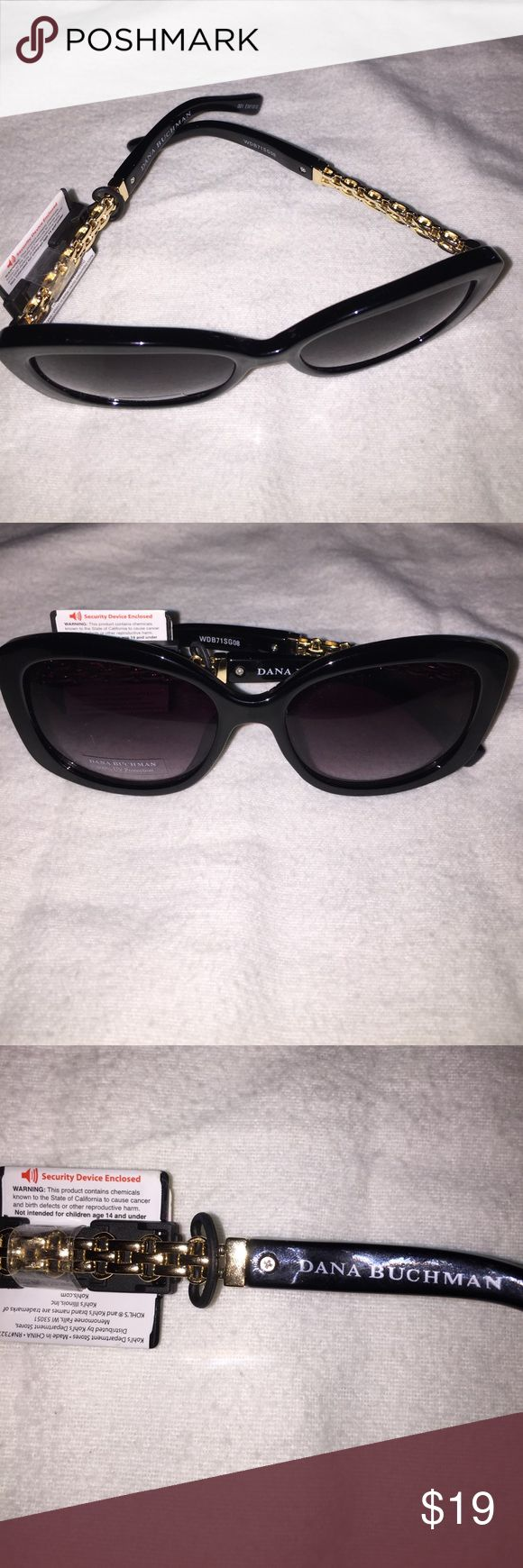 Dana Buchman gold chain UV sunglasses Beautiful black Dana Buchman sunglasses with gold chain details on the sides. 100% UV protection. New with tags. Dana Buchman Accessories Sunglasses