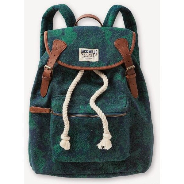 Jack Wills Penrose Backpack ($59) ❤ liked on Polyvore featuring bags, backpacks, accessories, sacs, pattern backpack, jack wills, green backpack, jack wills backpack and green bags
