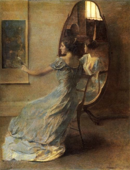 "Painting by Thomas Wilmer Dewing- my new obsession! So much inspiration from this book on his work called ""Beauty Reconfigured"" A lot of it is Picnic at Hanging Rock- esque. love. colors. ahh."