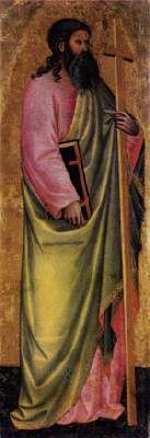 GIOVANNI DI BARTOLOMEO CRISTIANI St Andrew  - Tempera on panel, 122 x 42 cm The Hermitage, St. Petersburg  This panel, formerly ascribed to Nardo di Cione, was part of a polyptych.