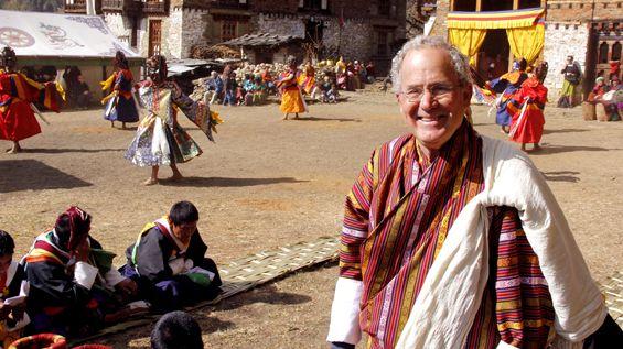 Joseph Rosendo with dancers in Bhutan. #travel #dance #Emmy #TV #PBS