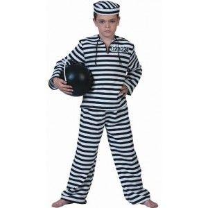 Déguisement prisonnier enfant, Déguisement prisonnier garçon, Déguisement prisonnier blanc noir, carnaval, western fêtes, uniforme