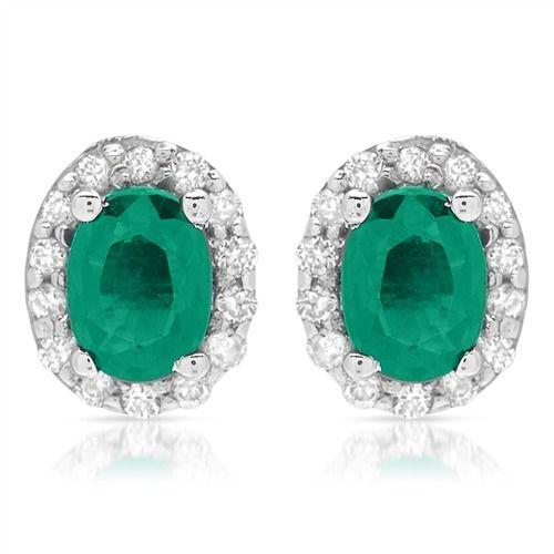 Ohrstecker 585er Weißgold mit Smaragden DE0031 #smaragd #earrings #gems #ohrringe #jewelry