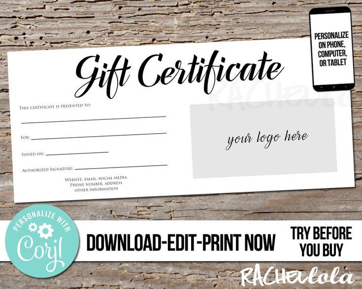 Editable custom printable gift certificate template logo