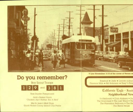 Streetcar at Vernon & Central Avenues (Los Angeles) depicted on a printed document :: Dunbar Economic Development Corporation Collection, 1880-1986