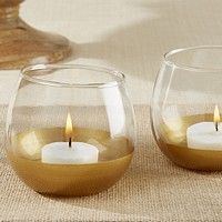 Gold dipped wine glass votive candle holder favors with lighted candles