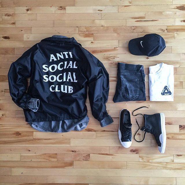 WEBSTA @ pier_luk - Socializing on a Monday Jacket: @antisocialsocialclub Shirt: @topman Tee: @palaceskateboards Pants: @zara Hat: @supremenewyork Shoes:…