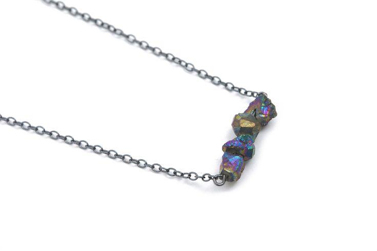 Rainbow pyrite gemstone necklace with oxidized silver