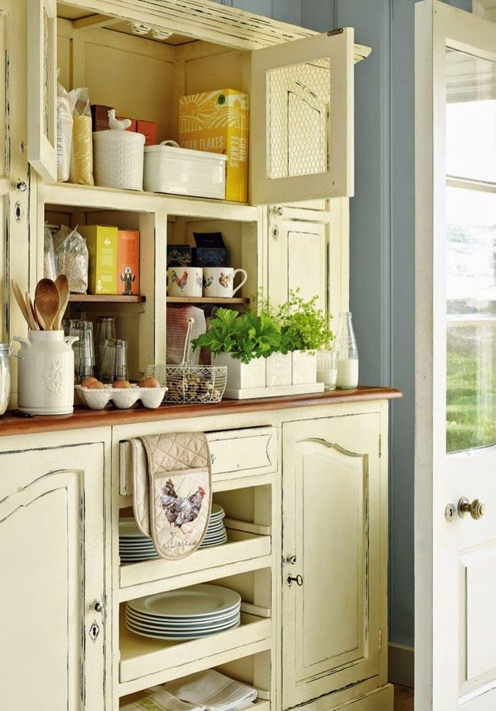 kitchen/country dining cabinet fr Vicky's Home I like the style and finish but not the bird wire