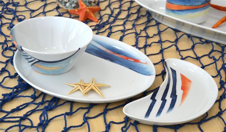 Piatto, Mezzaluna e Coppe Coniche, decoro Sensazioni di mare; idea  #mare, tavola casa #estate  www.ancap.it
