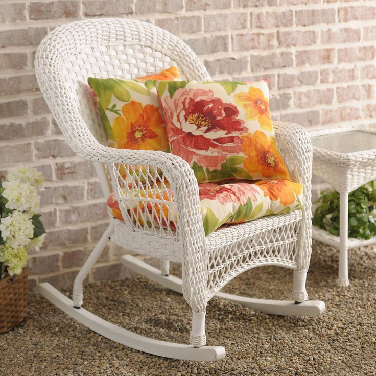 Add beauty to your outdoor space with our Savannah White Wicker Rocking Chair! Mix and match pillows to decorate your porch or patio just the way you want!
