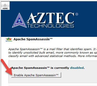 enable Apache SpamAssassin