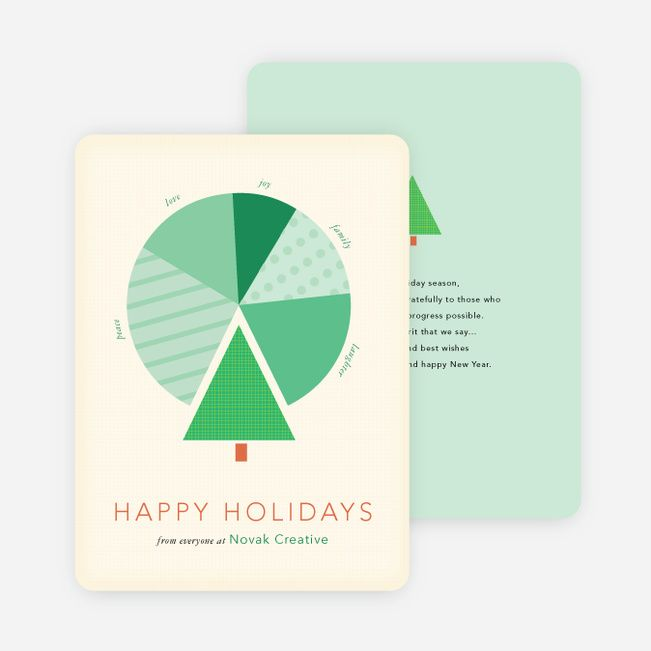Tree Pie Chart for Business Holiday Cards from Paper Culture