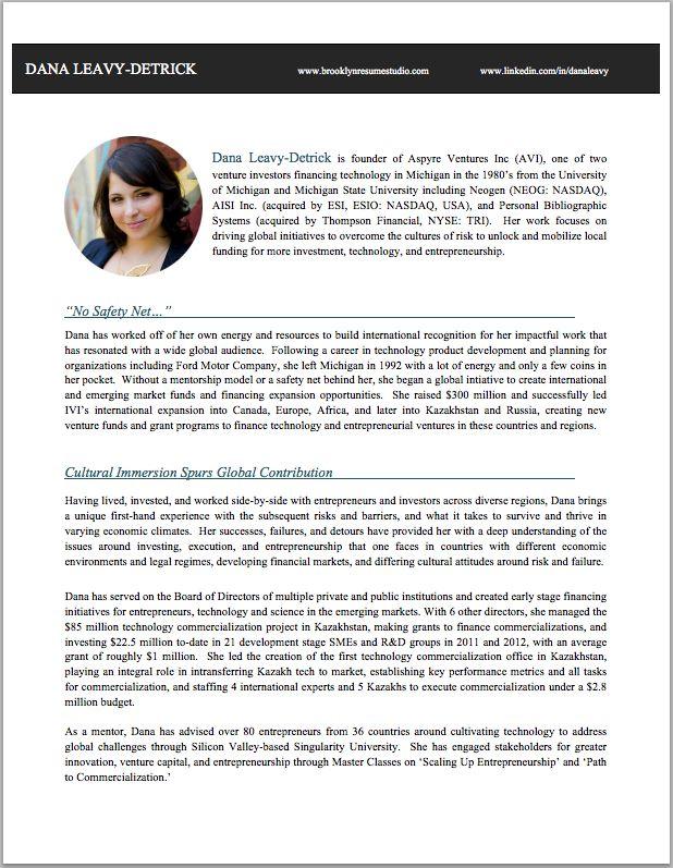creative professional bio resume studio
