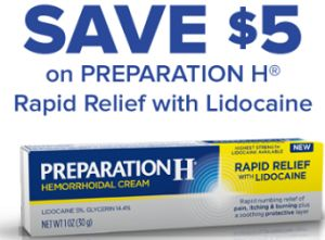 $5 off PREPARATION H Rapid Relief with Lidocaine Cream Coupon on http://hunt4freebies.com/coupons