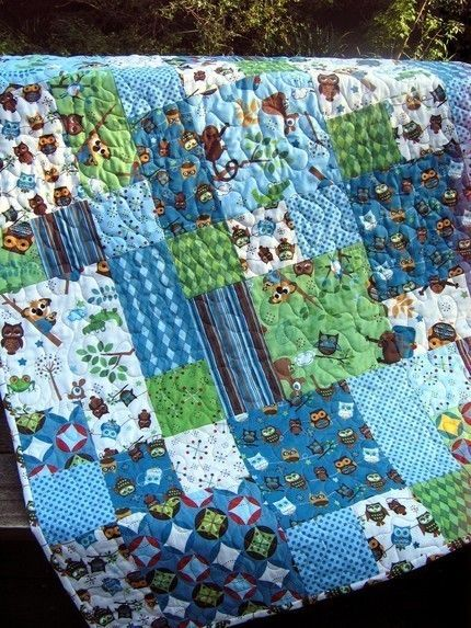 Baby boy quilt kit hooty hoot by doohikey designs for for Quilt material for boys