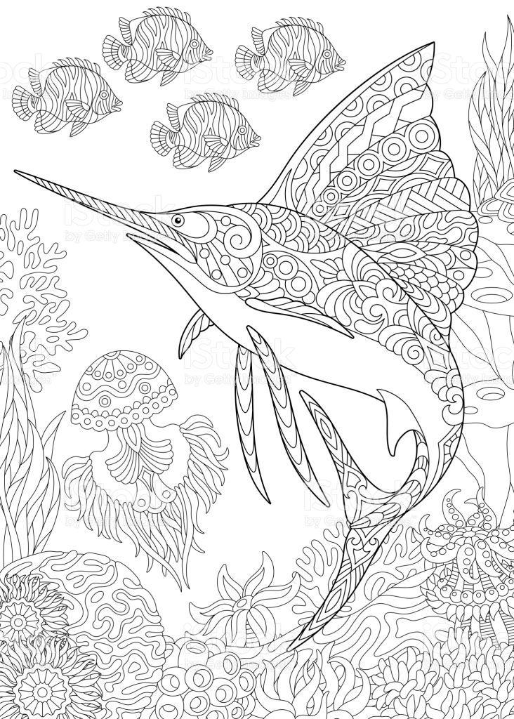 Underwater Background With Sailfish Jellyfish Tropical Fishes And Malvorlagen Tiere Malvorlagen Fur Kinder Zentangle Zeichnungen