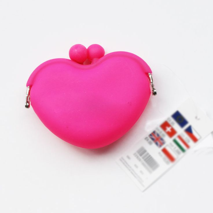 love shape silicone pochi purse with high quality