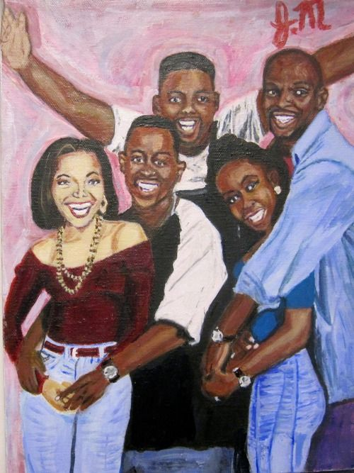 "The cast of  ""Martin"".  At first, I thought this painting was a tad... ummm... cartoonish, but when you really LOOK at each character, you soon realize that this painter actually captured them.  L.M. Ross"