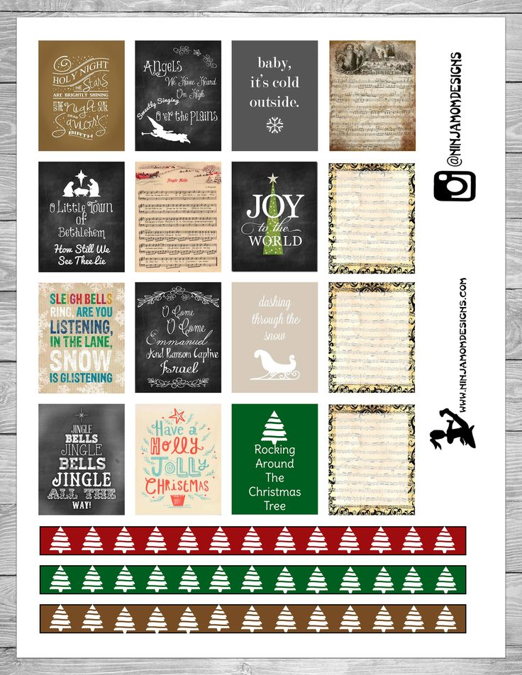 Free Christmas Songs Planner Stickers