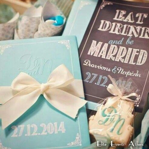 Tiffany Blue and Ivory wedding invitation eat drink and be married at Ktima Pentelikon, Athens, Greece by Elite Events Athens     #RizoNefeloWedding by #EliteEventsAthens #EliteEventsSantorini #weddingplanner #EatDrinkAndBeMarried #sneakpeek #TiffanyBlue and #Ivory #TiffanyandCo #winterwedding #snowywedding #christmaswedding #linens #fabrics #artdelatable #candles #decoration #love and it was an #amazing #extraordinary #christmas #winter #wedding for our #lovely ❤ #mrandmrs #DioandNefi ❤…