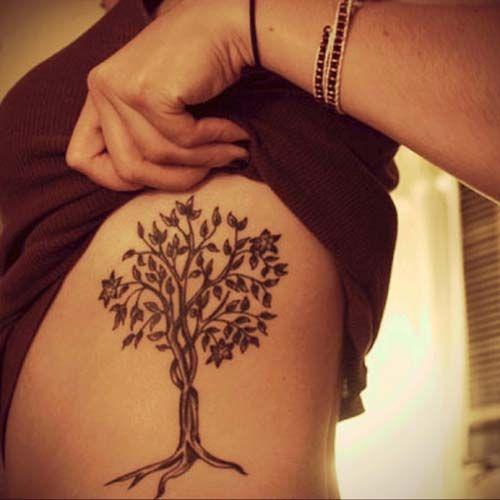 kadın beli ağaç dövmesi woman belly tree tattoo