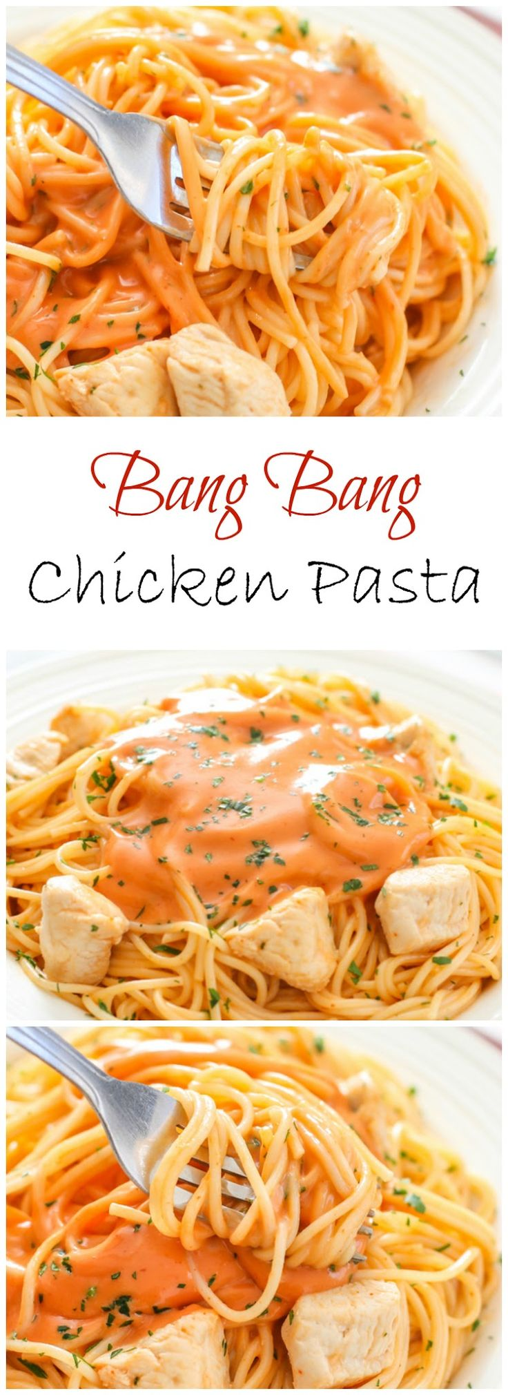 This chicken pasta is tossed in an addicting orange bang bang sauce.
