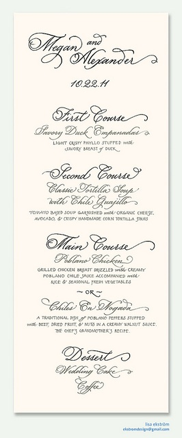 custom hand-calligraphy menu by lisa ekström, via Flickr