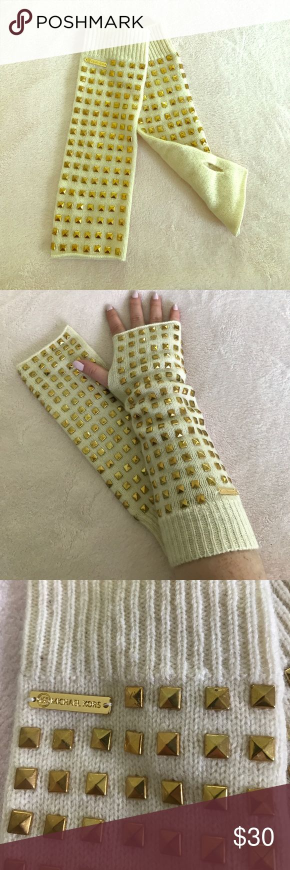Michael Kors cream arm warmers with gold studs Michael Kors knit cream arm warmers with gold studs Michael Kors Accessories Gloves & Mittens