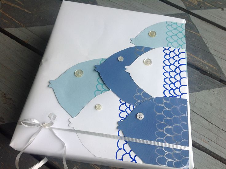Plain Gift Wrapping Paper Part - 35: Fishy Gift Wrap | Simple Paper Fish With Button Eyes. Add A Hook And It
