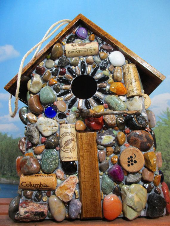 Rock, stone, glass and cork mosaic birdhouse