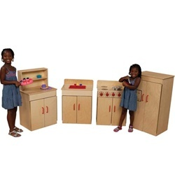 Wood Designs Classic Play Kitchen Set - Each play kitchen set includes a play sink, play stove, play refrigerator, and play hutch constructed of 100 percent Healthy Kids Plywood with an exclusive Tuff-Gloss UV finish. These wooden kitchen playsets feature Pinch-Me-Not hinges and full length Tip-Me-Not doors for added safety. Each set is available in birch or Healthy Kids Colors with a lifetime warranty on normal wear and tear.  [WD10002]