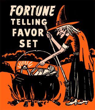 vintage halloween fortune telling favor set
