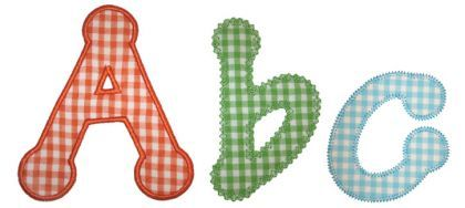 Dotty Applique Alphabet - Embroidery Boutique 3 different finishing stitches: satin, vintage, zig zag