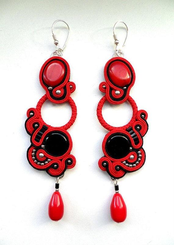 Soutache earrings Corrida red and black long SOUTACHE by FEYAshop