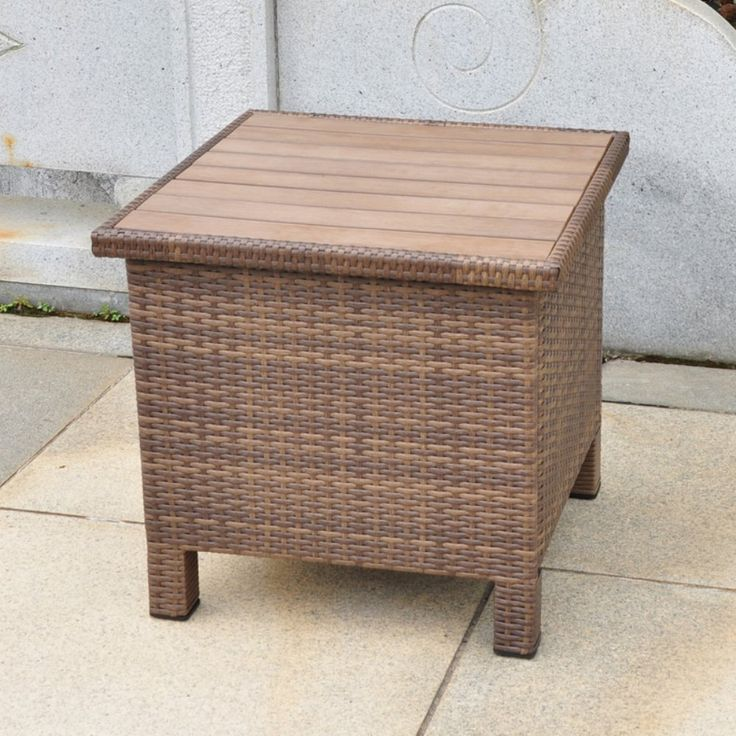 International Caravan Barcelona All-Weather Wicker Contemporary Outdoor Storage Table - Keep playthings or garden gear stowed in style in the Barcelona All-Weather Wicker Contemporary Outdoor Storage Table . This storage cube is ready for...