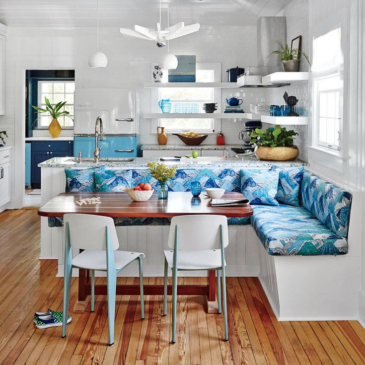 Retro-Inspired Dining Nook - Blue and White Beach House Decorating - Coastal Living