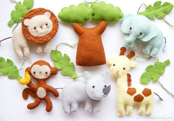 PDF pattern - Safari animals. Felt baby crib mobile ornaments. Giraffe, lion, rhino, monkey, elephant, baobab tree, jungle leaves