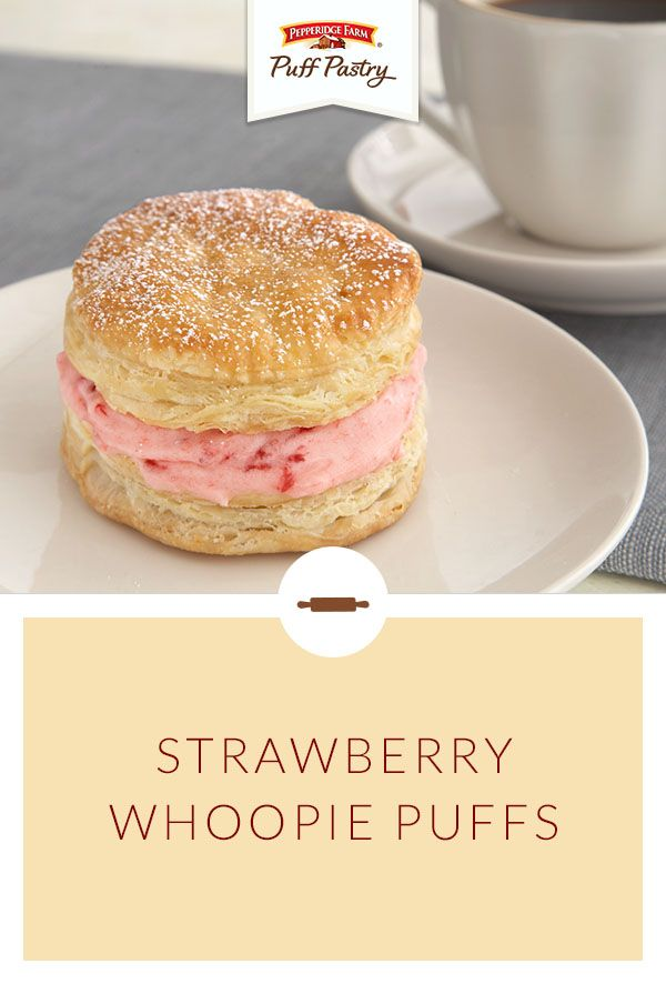 Pepperidge Farm Puff Pastry Strawberry Whoopie Puffs recipe. Looking for a simple dessert to satisfy your sweet tooth? Try this version of a Whoopie Pie made with flaky Puff Pastry. Simply whip up a batch of these Puff Pastry shortcakes filled with a buttery, strawberry filling. They're perfect for Mother's Day brunch.