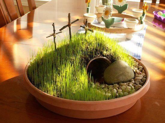 Resurrection  Garden -- potting soil, a small flower pot buried, chia seeds, 3 crosses made from twigs, small rocks and 1 med rock. Water with a spray bottle 2-3 times a day.